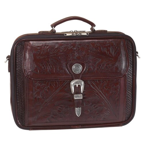 Mahogany Oakleaf Leather Laptop Briefcase