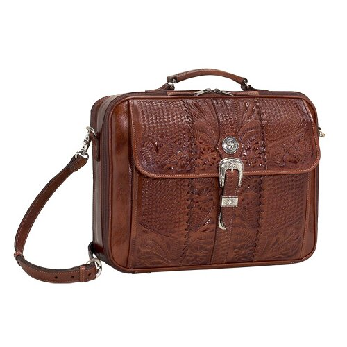 Retro Romance Travel Leather Laptop Briefcase