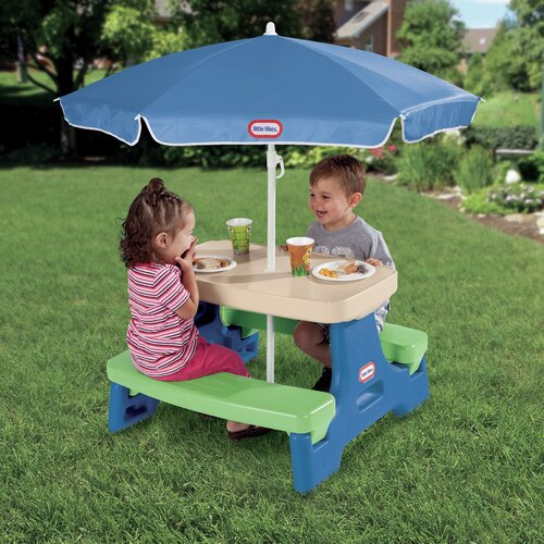kids picnic play table bench plastic outdoor umbrella set patio yard