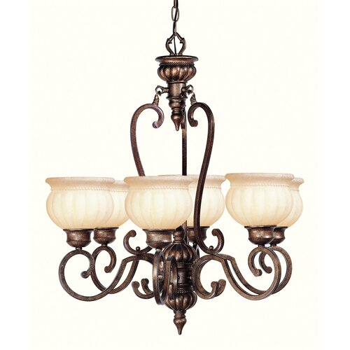 Renaissance Six Light Chandelier in Moroccan Gold