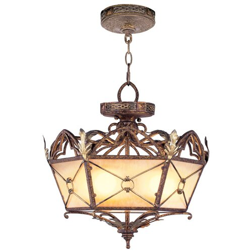 Livex Lighting Bristol Manor  Convertible Pendant in Palacial Bronze with Gilded Accents