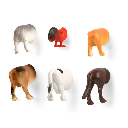 Kikkerland 6 Piece Animal Butt Magnet Set