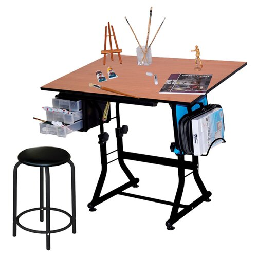 Martin Universal Design Ashley Melamine Drafting Table with Stool