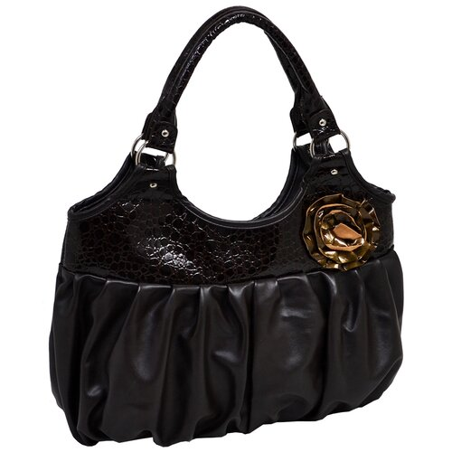 Evanthe Croco Embossed Faux Leather Large Hobo Bag