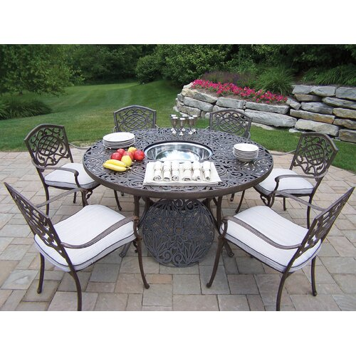 Oakland Living Mississippi Dining Set with Cooler Insert and Cushions