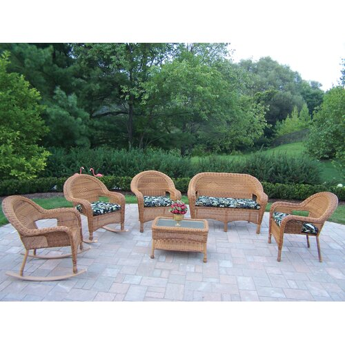 Oakland Living Resin Wicker 6 Piece Lounge Seating Group Set