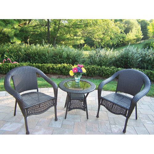 Oakland Living Resin Wicker 3 Piece Lounge Seating Group Set