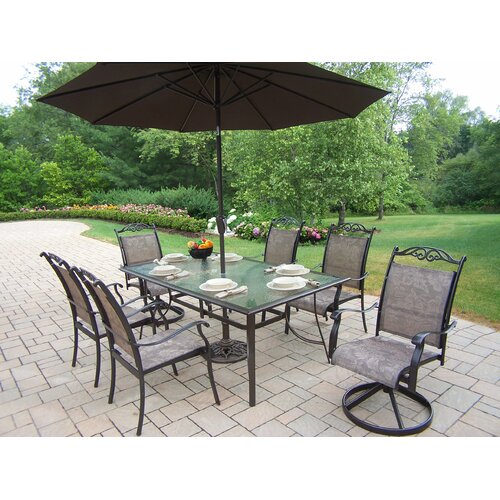 Oakland Living Cascade Dining Set with Umbrella