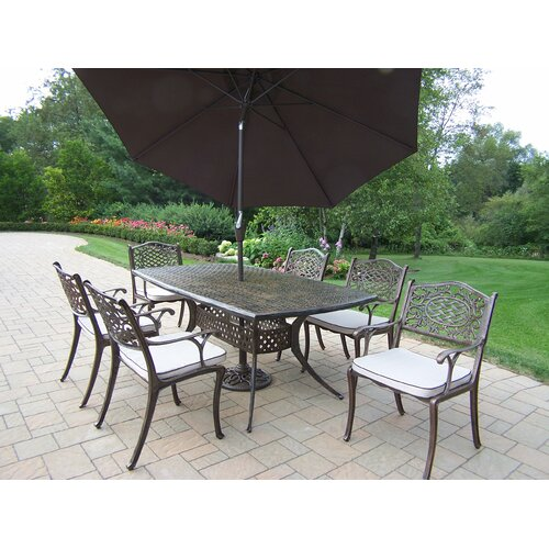 Oakland Living Oxford Mississippi Dining Set with Cushions and Umbrella