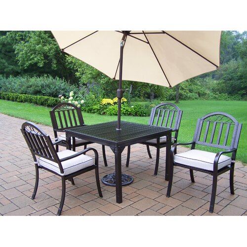 Oakland Living Rochester 7 Piece Dining Set with Cushions and Umbrella