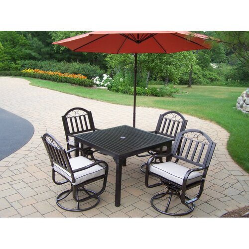 Oakland Living Rochester Swivel Dining Set with Cushions and Umbrella