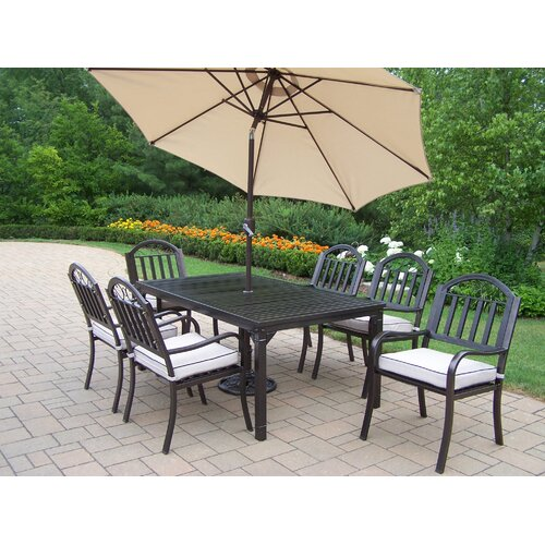 Oakland Living Rochester 9 Piece Dining Set with Cushions and Umbrella