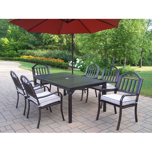 Oakland Living Rochester Dining Set with Cushions and Umbrella