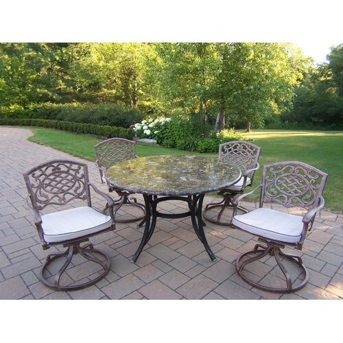 Oakland Living Stone Art Swivel Dining Set with Cushions