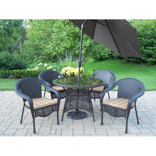 Oakland Living Elite Resin Wicker Dining Set with Cushions and Umbrella