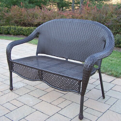 Oakland Living Elite Resin Wicker and Metal Garden Bench