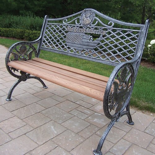 Oakland Living God Bless America Wood and Aluminum Park Bench
