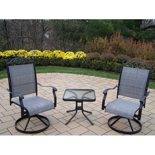 Oakland Living Sling 3 Piece Swivel Chat Set