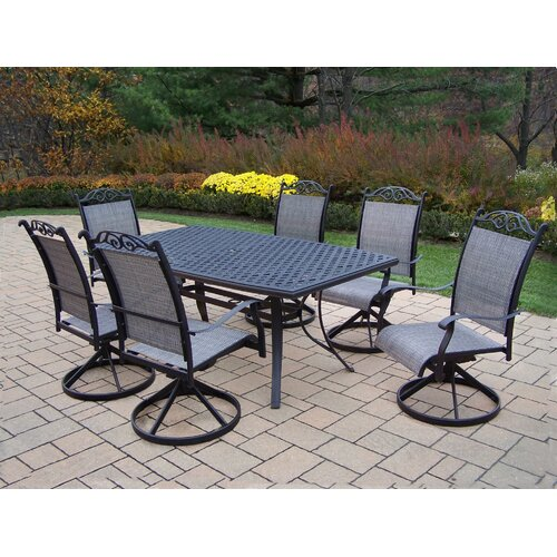 Oakland Living Cascade 7 Piece Swivel Dining Set