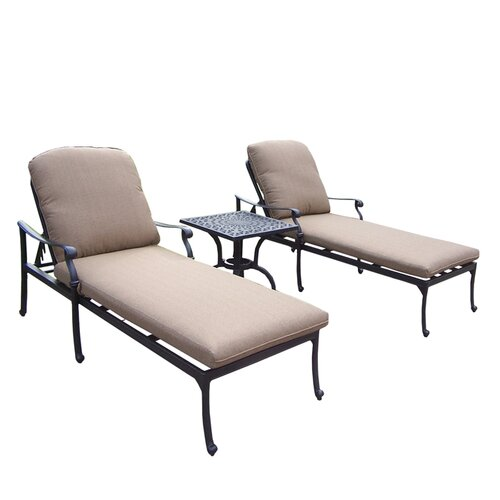 Oakland Living Hampton 3 Piece Chaise Lounge Seating Group Set