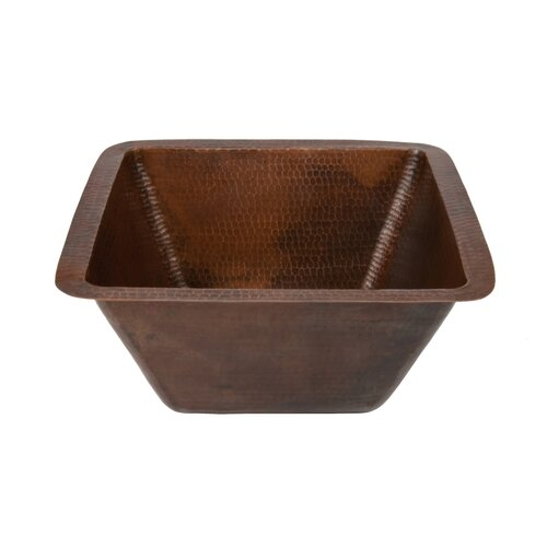 Square Hammered Copper Bathroom Sink