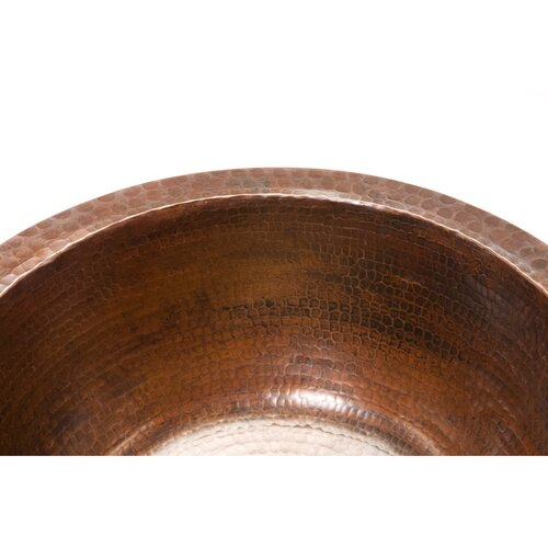 "Premier Copper Products 14"" x 14"" Round Hammered Copper Bar Sink"