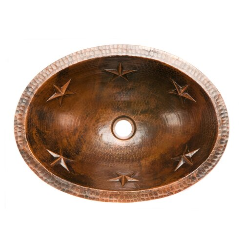 Copper Products Oval Star Undermount Hammered Copper Bathroom Sink
