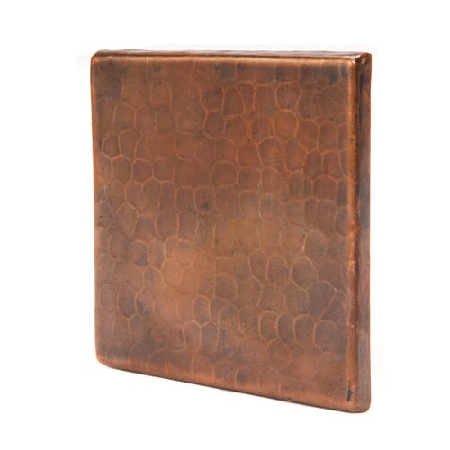 "Premier Copper Products 4"" x 4"" Copper Hammered Tile in Oil Rubbed Bronze"
