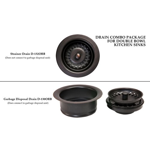 Premier Copper Products Drain Combination Package for Double Bowl Kitchen Sinks