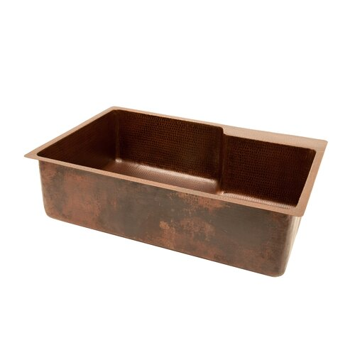 """Premier Copper Products 33"""" x 22"""" Hammered Single Basin Kitchen Sink with Faucet with ORB Pull Down Faucet, Drain and Accessories"""
