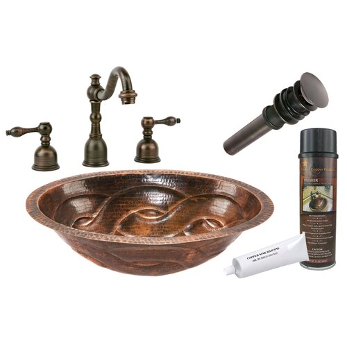 Premier Copper Products Braid Under Counter Hammered Bathroom Sink