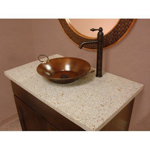 Premier Copper Products Round Minors Pan Hammered Copper Vessel Bathroom Sink