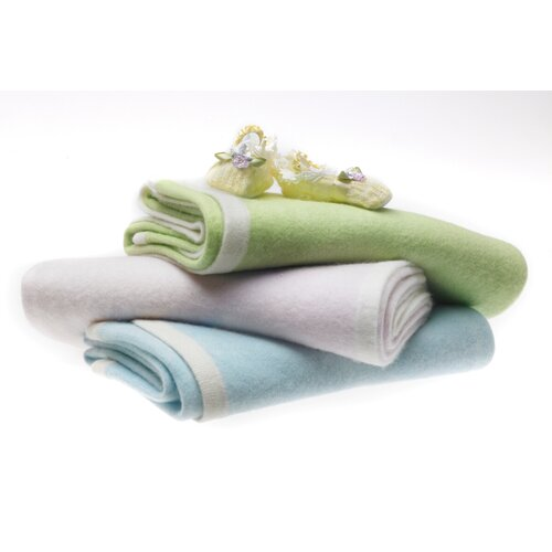 Swaddle Designs Cashmere Blanket in Pastel with Barely Ivory Trim