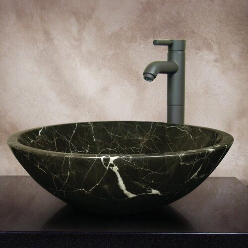 Linda Hand Carved Round Vessel Bathroom Sink