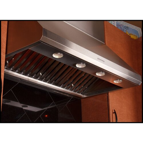 "Yosemite Home Decor Professional Series 42"" 1000 CFM Stainless Range Hood with LED Lighting and Baffle Filters"