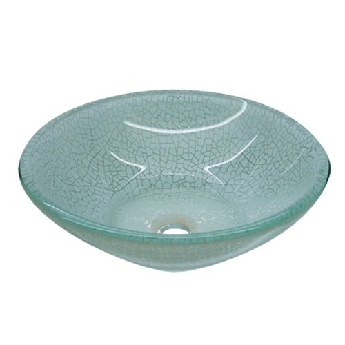 Yosemite Home Decor Crackle Round Glass Bathroom Sink