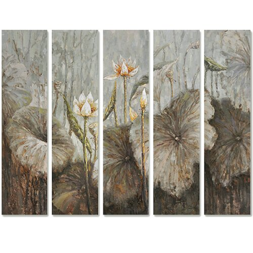 Revealed Art Flowers in the Wild Original 5 Piece Painting on Canvas Set