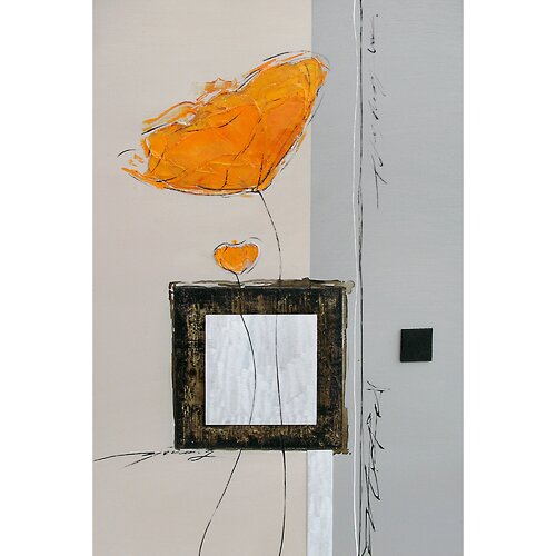 Contemporary & Abstract Art Long Stemmed Orange Flowers Original Painting on Canvas