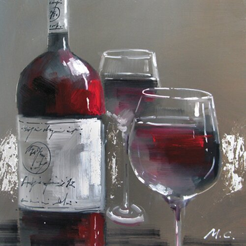 Contemporary & Abstract Art Wine and Two Glasses I Original Painting on Canvas
