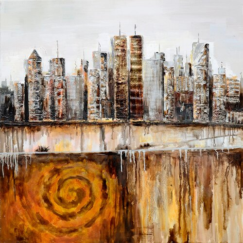 Revealed Art Urban Skyline Original Painting on Canvas