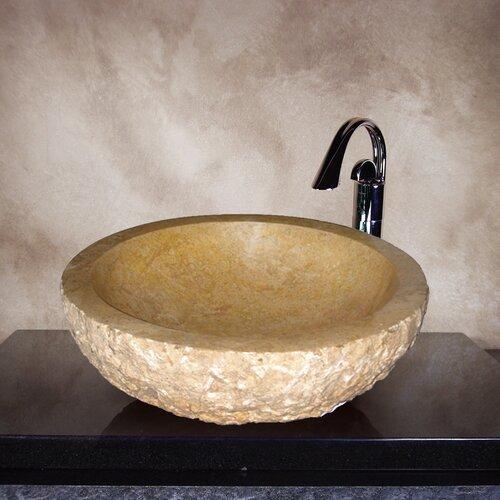 Yosemite Home Decor Brixton Hand Carved Round Vessel Bathroom Sink