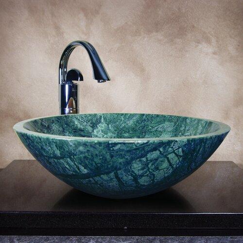 Yosemite Home Decor Grannus Hand Carved Round Vessel Bathroom Sink