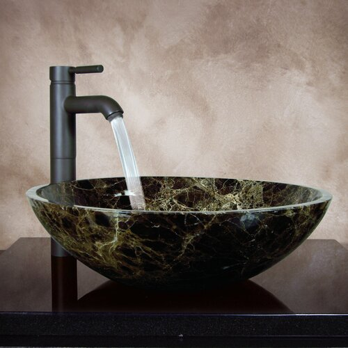Yosemite Home Decor Karisma Hand Carved Round Vessel Bathroom Sink