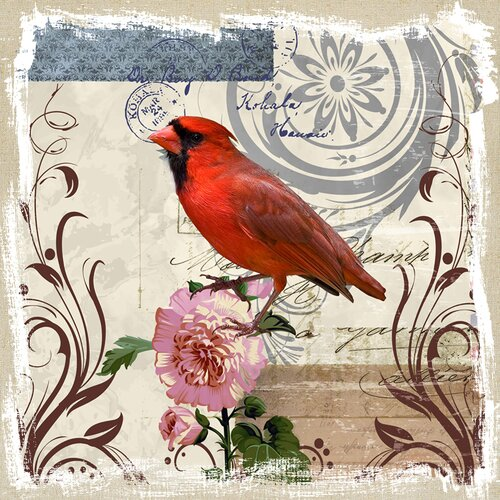 Revealed Artwork Cardinal on Linen Graphic Art on Canvas