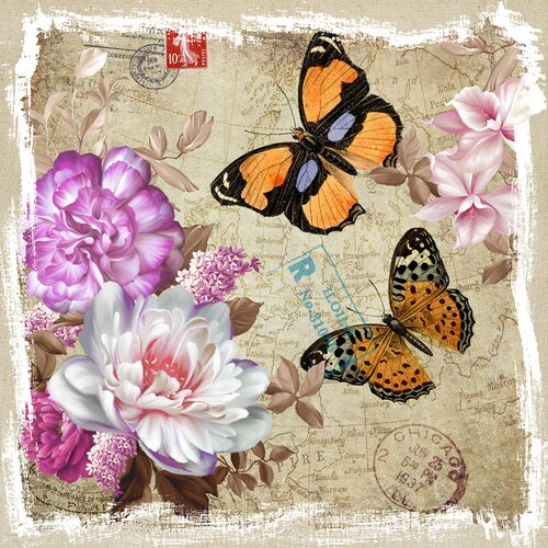 Revealed Artwork Butterflies and Flowers I Graphic Art on Canvas