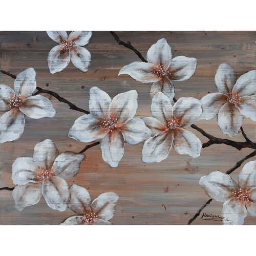 Revealed Artwork Wooden Blossom II Original Painting on Canvas