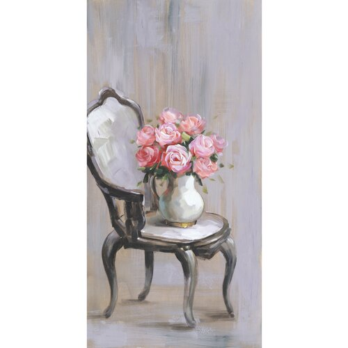 Revealed Artwork Chair Of Roses I Original Painting on Canvas