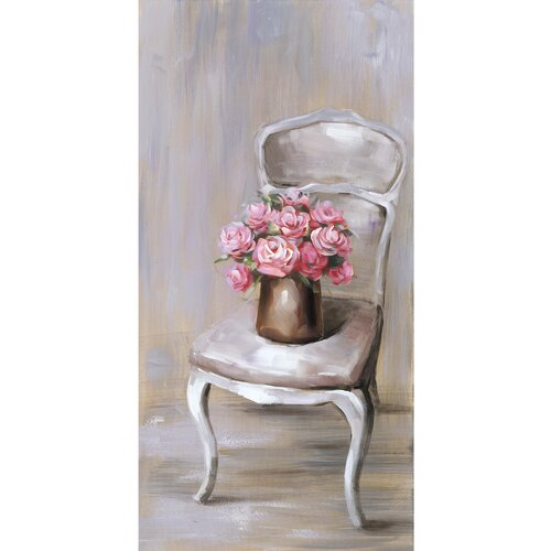 Revealed Artwork Chair Of Roses II Original Painting on Canvas
