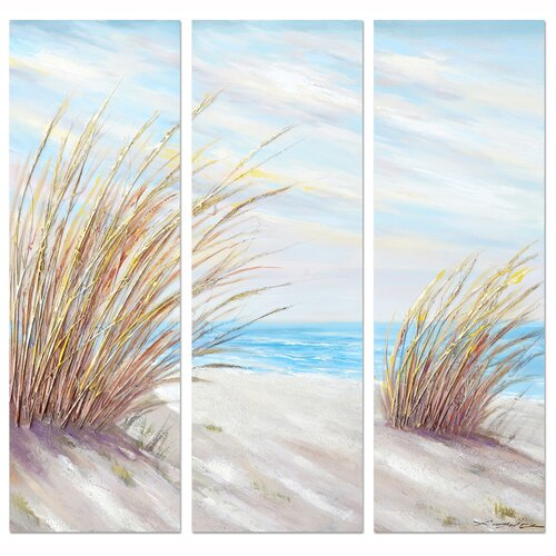 Revealed Artwork Shore Grass 3 Piece Original Painting on Canvas Set