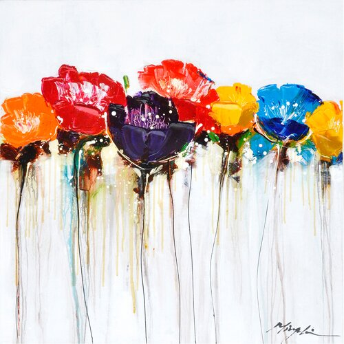 Revealed Artwork Jeweled Poppies I Original Painting on Canvas